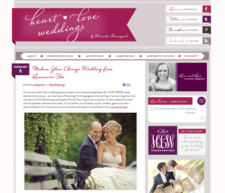 luminaire foto downtown chicago featured on heart love weddings blog